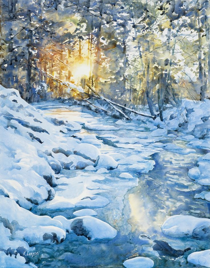 """Kathleen Lanzoni fine watercolor artist, Winterly Light 23"""" x 29"""" watercolor - giclee available"""