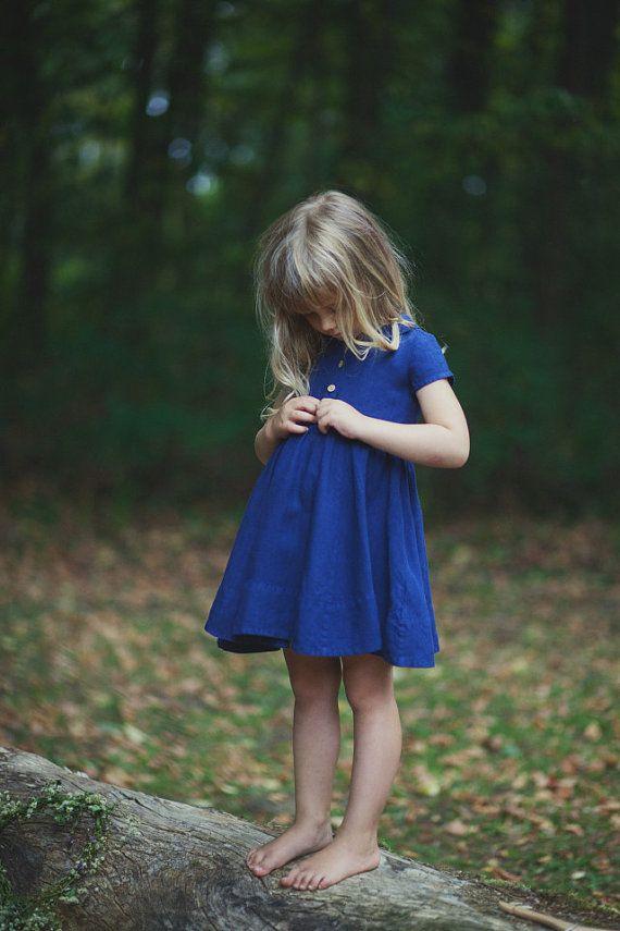 Linen Dress Navy Blue Kids Fashion Hand Made by SondeflorShop