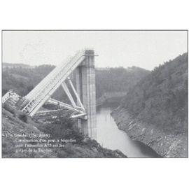 1992 Garabit chantier de construction d'un pont à béquilles pour l'autoroute A75 sur les gorges de La Truyère