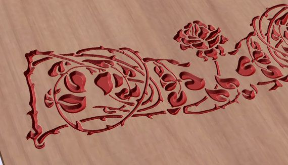 Rose pattern vector file for cnc V-bit carving (digital file).  This file can be applied to any program CNC like Artcam and Vectric Aspire.  Vector  #digital2cre8 #vcarve #cncrouter #cncfile #epsfile #vectorimage #woodcarving #digitalsupplies #homedecor #rose