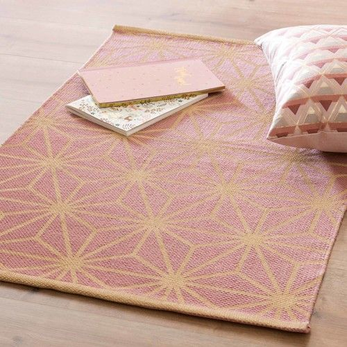 Pink Cotton Rug With Graphic Print 60x90