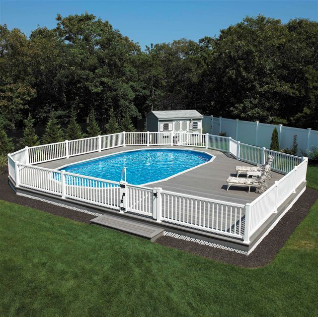 semi above ground pool nice alternative to spending 50k on an inground pool - Inground Pool Patio Designs