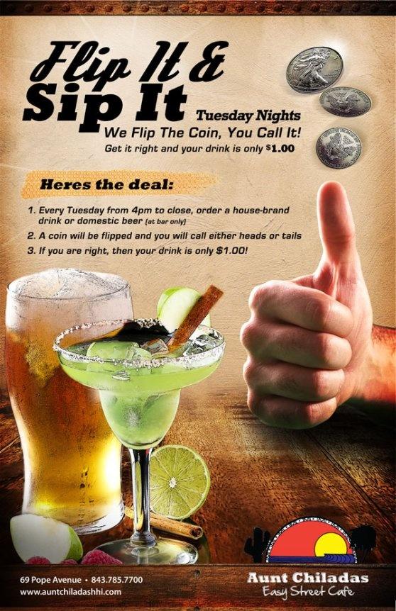 Aunt Chiladas-Flip It and Sip It Tuesdays on Hilton Head Island