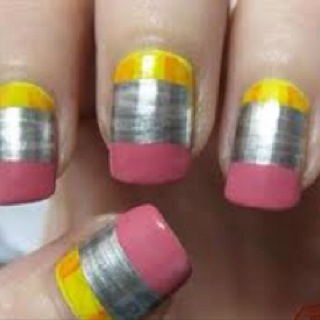 Beginning of School Year Nail Idea... Probably not but it's a fun idea.