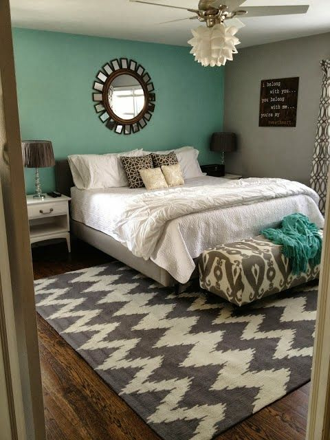 guest room - love these colors together, simple decor and the colors make the room dynamic