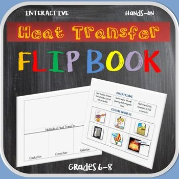 This teacher ready and student-friendly flip book helps reinforce the heat transfer methods of conduction, convection, and radiation. Works well within interactive notebooks in Earth Science class. This hands-on activity includes:   Teacher Directions   Definitions & Examples   Flip Book   Cut & Paste Pictures & Descriptive Examples   Summary SheetsThis is a cut, paste & match activity.