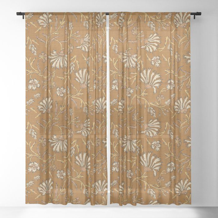 Buy Kalami Floral Mustard Sheer Curtain By Hollizollinger Worldwide Shipping Available At Society6 Com Just One Of M In 2020 Sheer Curtain Curtains Blackout Curtains