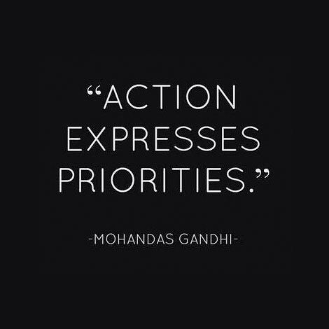 Action Expresses Priorities. Oh how true this is. Isn't it crazy that we can get confused about our priorities? I think that's what can nudge us off track sometimes. We can be plugging along just fine and before we know it we're investing more and more time in things that don't make us happy don't take us where we want or need to go and don't express our priorities (or do they). Pause slow down take breaks put a sticky on your fridge make a desktop screen background that says: I want these 3…