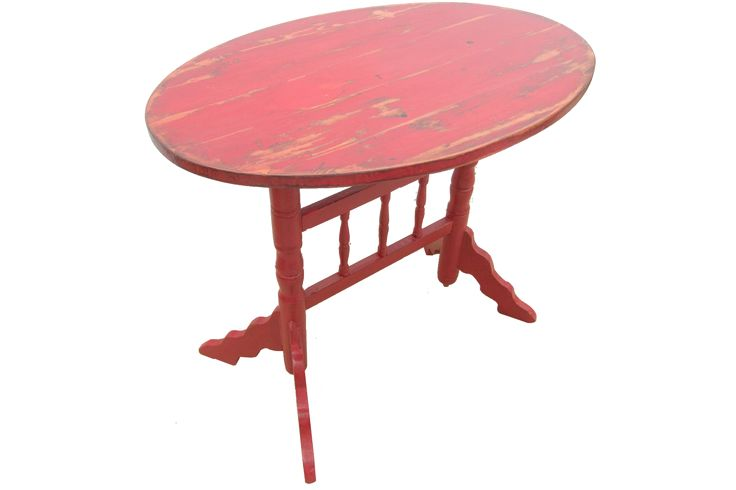Retro Carmin - vintage distressed wood coffee table, red paint; masa cafea din lemn, veche si reconditionata