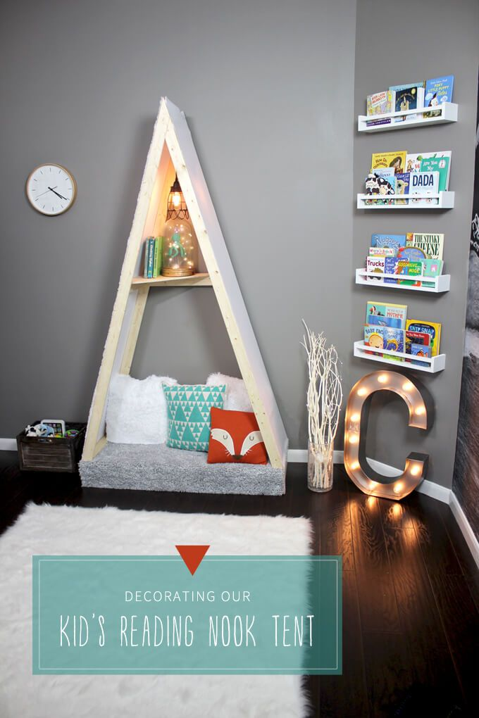 Add a playful touch to an outdoor adventure nursery by building this kid's reading nook tent.