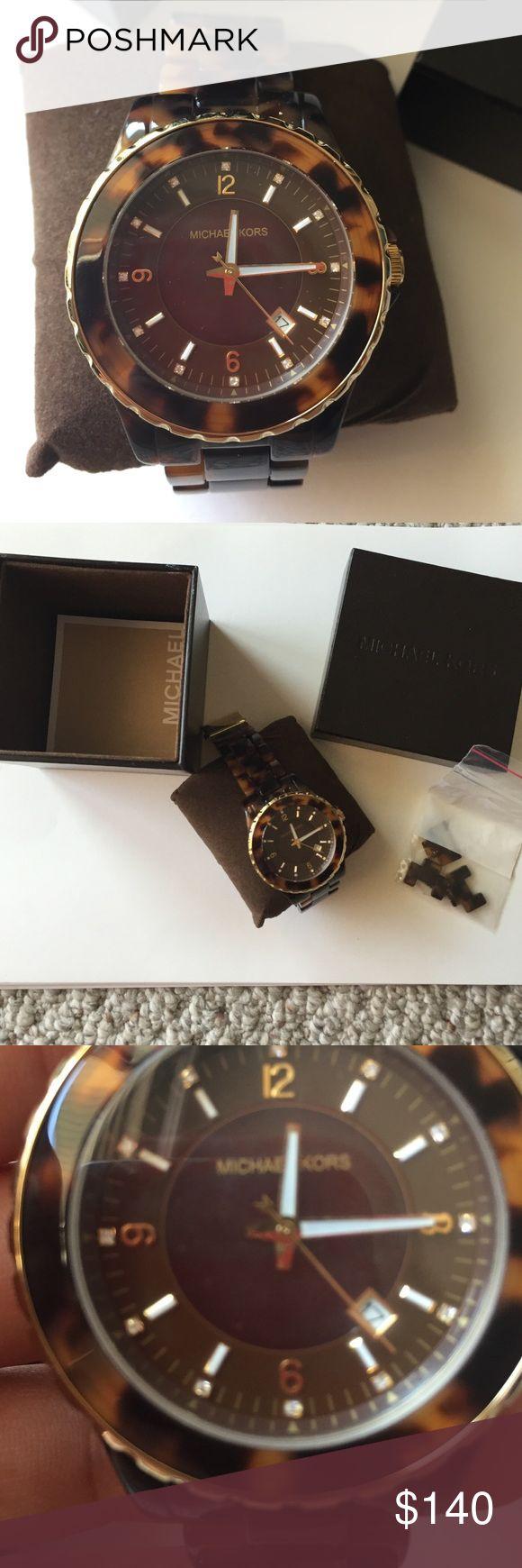 Michael Kors tortoise watch (women's) Michael Kors tortoise watch. Comes with original box and links Michael Kors Accessories Watches