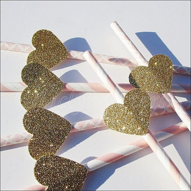 Pink & Gold Glitter Heart Party Straws
