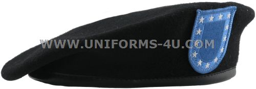 US ARMY BLACK BERET WITH FLASH