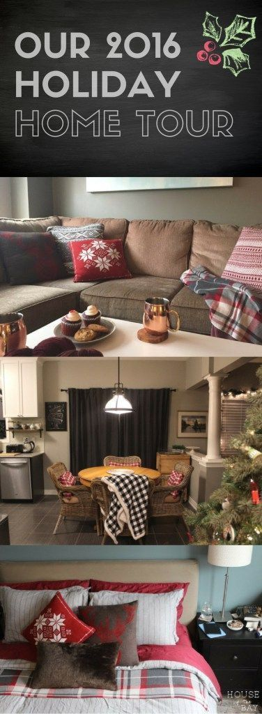 Our 2016 holiday home tour | red plaid pillows & buffalo check throw | Christmas bedroom and holiday knitted pillow covers