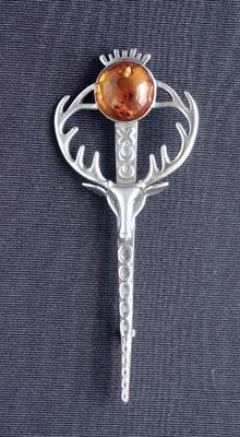 stag kilt pin, with amber
