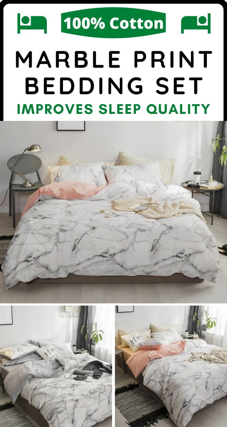 Marble Printed 100 Cotton Bedding Set Cozy Bedding Sets Bedding Set Cotton Bedding Sets