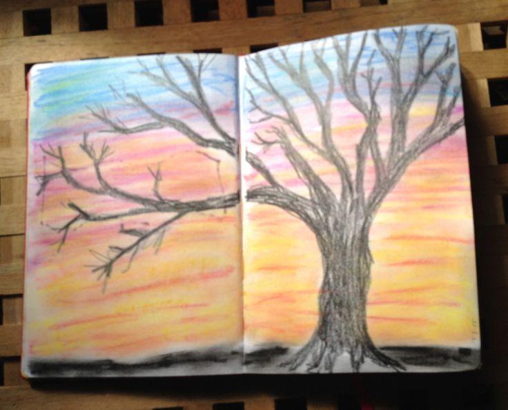 Art Journal #4, Sunset Soft pastels
