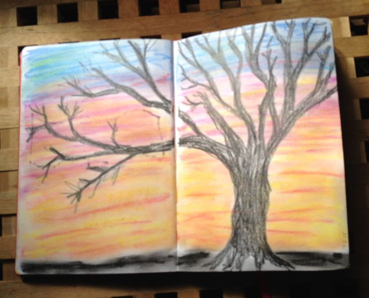 Art Journal #4, Sunset Soft pastels