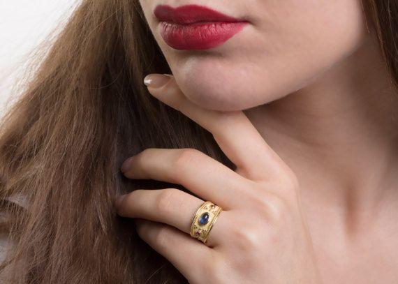 Blue Sapphire, Gold Ring, Cabochon Gemstone, Byzantine Gold Ring, Byzantine Jewelry, Greek hand made, Blue gemstone Ring, Etruscan ring, Ruby gemstone ring.
