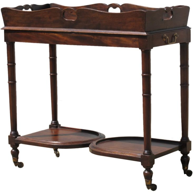 English Walnut Butlers Tray On Casters  Victorian, Wood, Bar Cart by English Country Home