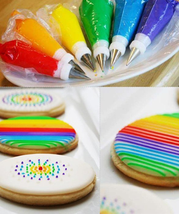 Rainbow Sugar Cookies-Rainbow Sugar Cookies   Pick your favorite sugar cookie recipe, dye frosting in all the colors of the rainbow and get to work making all sorts of stripes, polka dots and other patterns!