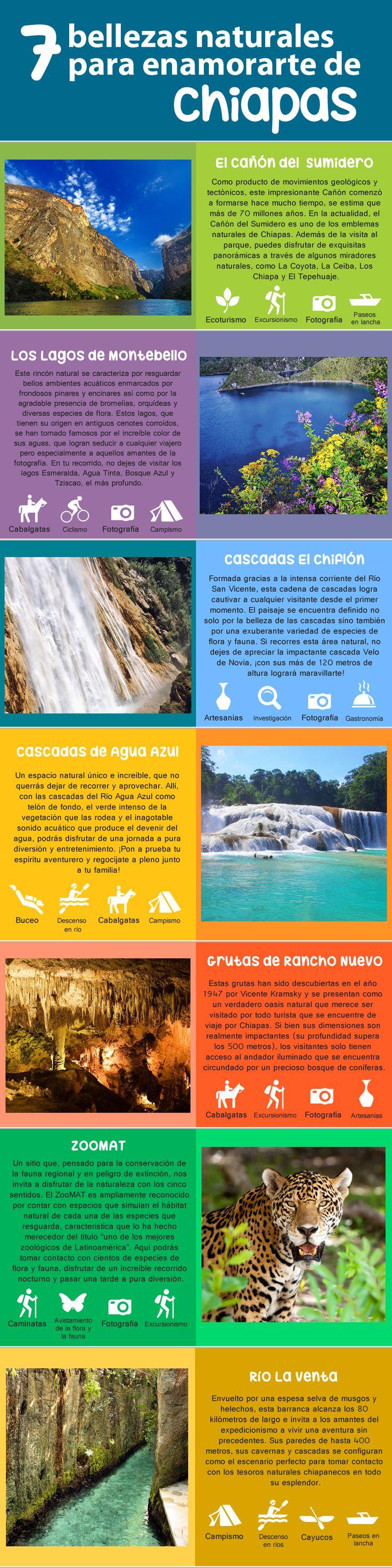 #Infografia 7 bellezas naturales para enamorarse de #Chiapas #Turismo #Mexico #Atractivos Más info sobre el destino en: http://www.bestday.com.mx/Chiapas/Atracciones/
