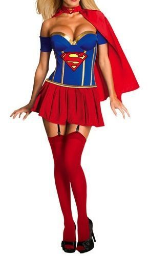 Sexy New Super Hero Costume Fancy Dress Outfit Red Blue Yellow Cape