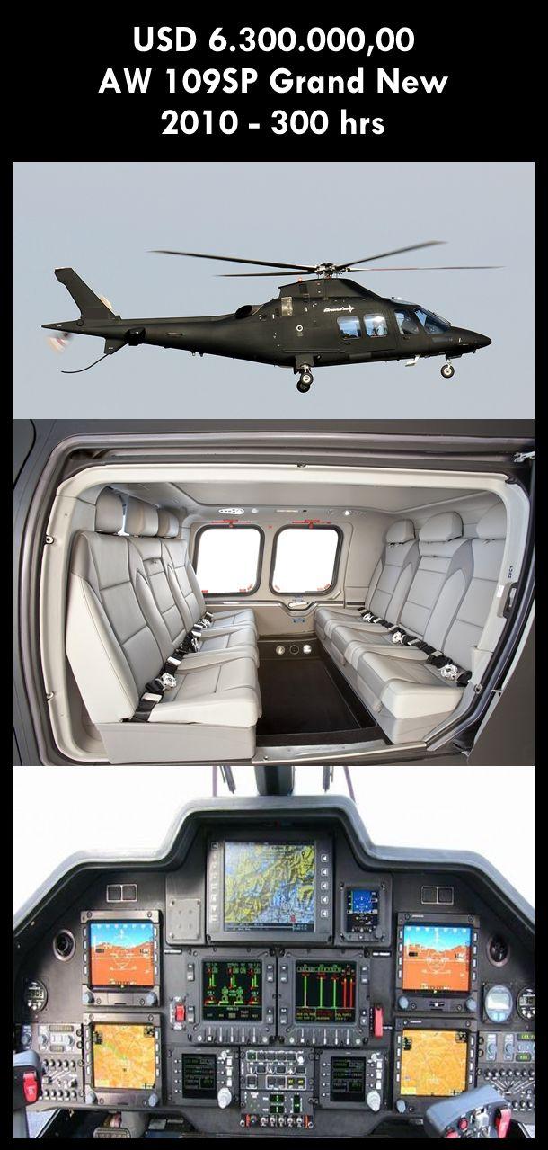 Aeronave à venda: Agusta Westland AW 109SP Grand New, 2010, 300 hrs, USD 6.300.000,00. #agusta #agustawestland #agustagrandnew #aw109sp #airsoftanv #grandnew #aircraftforsale #aeronaveavenda #pilot #piloto #helicoptero #aviation #aviacao #heli #helicopterforsale #heliforsale www.airsoftaeronaves.com.br/H235