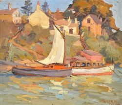HORACE TRENERRY (1899-1958) Harbourside, Sydney c.1922 oil on canvasboard