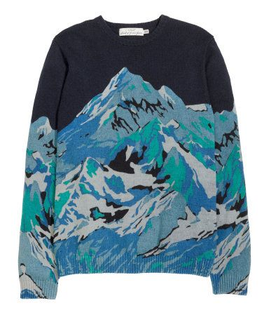 Long-sleeved sweater in a cotton blend with wool content. Printed mountain range pattern in shades of blue. | H&M For Men