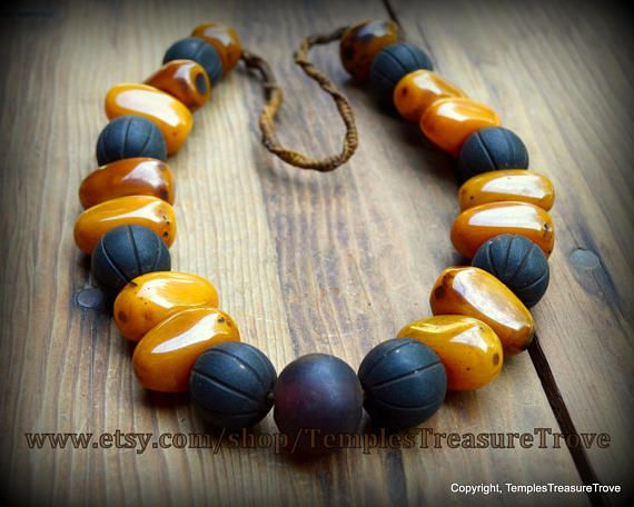 "Rustic Orange Honey Amber Resin Plum Glass and Black Wood Melons  bead Statement Necklace 27"" Tibetan Tribal Necklace from Kathmandu,Nepal"
