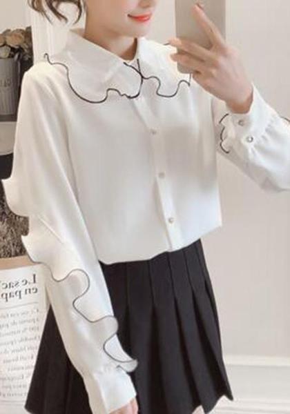 4064d80141ffc7 White Ruffle Turndown Collar V-neck Long Sleeve Chiffon Blouse ...
