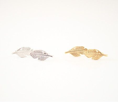 Simple Collection - Earrings - Feather Gold