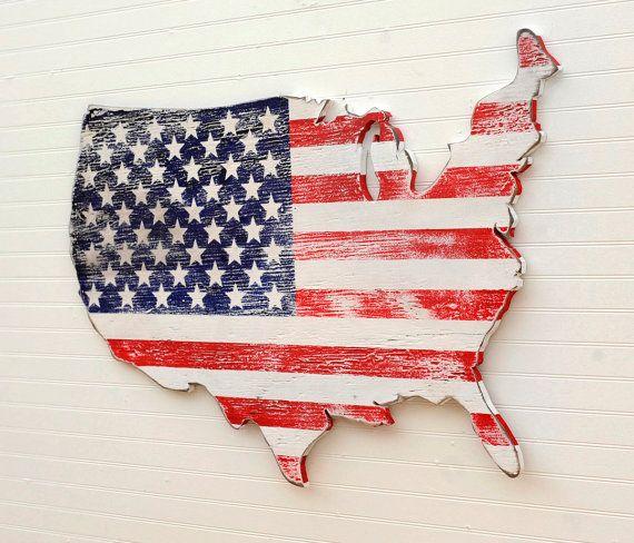 USA houten vlag kaart kunst grote Amerikaanse kaart kunst