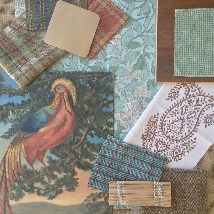 Artsandhomes Interior Design Fabric Inspiration Board Indian English Bird Oil Painting Bohemian Lesindiennes Carolina Vintage Eclectic Plaid