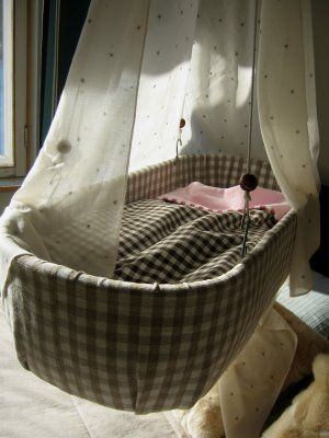 diy hanging crib. i came across one, now i really want one!