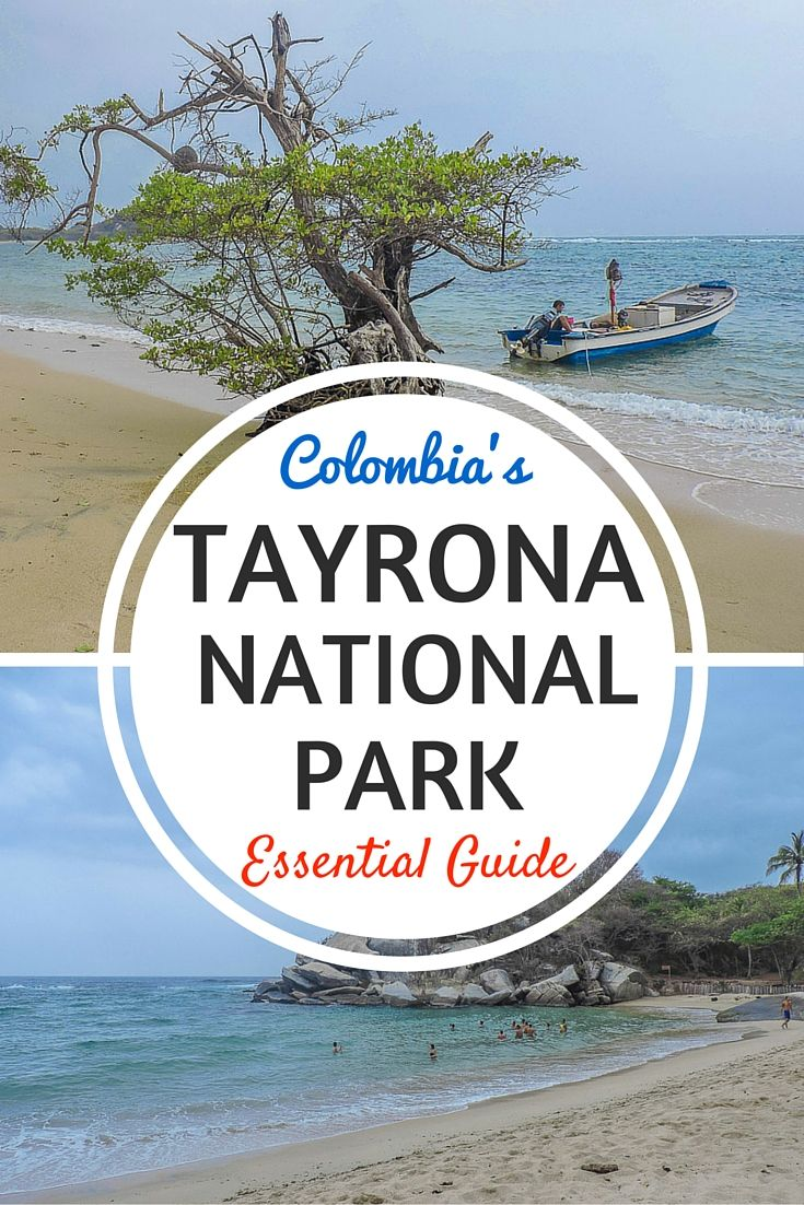 Colombia's Tayrona National Park or Parque Nacional Natural Tayrona, a short bus journey ride from Santa Marta to hikes, beaches, and monkeys! Click the pin to find out about prices, accommodation, and things to do.