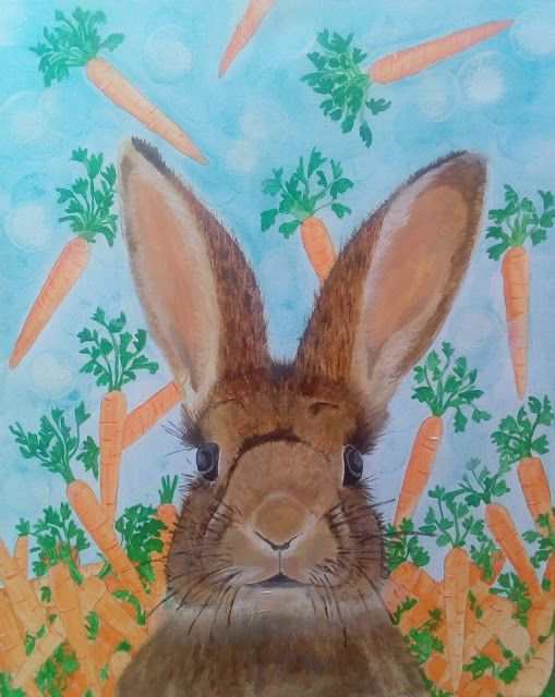 Alexandras craft and werk: As wild as a bunny, Acrylics on Box Canvas 40x50cm