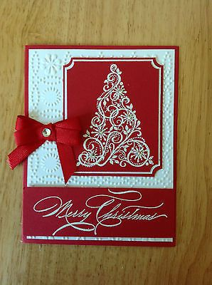 Handmade Christmas card kit - white elegent tree-md w/ mostly stampin up product