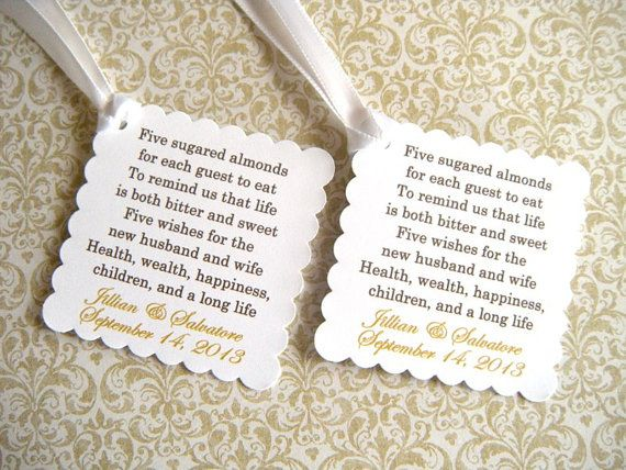200 Custom Printed Jordan Almond Wedding Favor Tags with Ribbon by WeddingsBySusan, $80.00