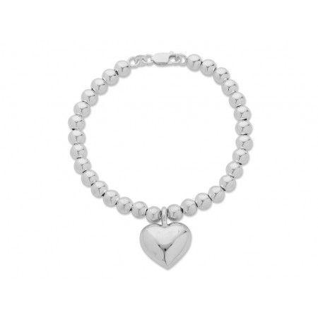 Sterling Silver Heart Shape Bracelet. Sku: SB690032