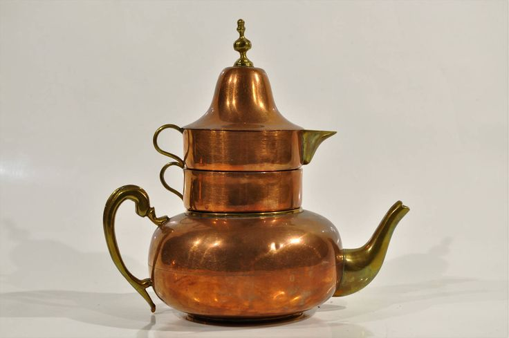 Four in one copper and brass teapot with a stacking bell cup and creamer/Shabby Cottage ,Farmhouse teapot French/Italian copper kitchen by decor4home2 on Etsy
