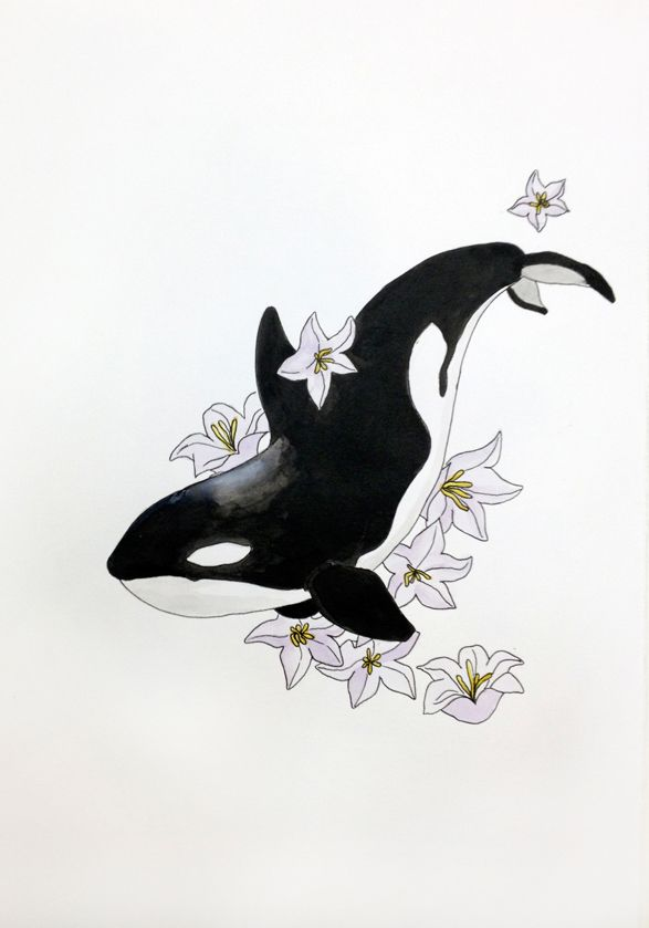 Orca tattoo inspiration (sans flowers)