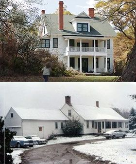 Movie House vs. Real Perron Farmhouse The real Perron family lived in the farmhouse for approximately ten years. Located in the small country town of Harrisville, Rhode Island, Roger Perron and his wife Carolyn purchased the home in the winter of 1970. The 200 acre property offered plenty of space for them to raise their five daughters: Andrea, Nancy, Christine, Cynthia and April. They moved out in June of 1980.