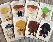 """A set of twelve (12) of our 5""""x7"""" muslin favor bags featuring your favorite Star Wars friends! So cute for your little Jedi's party! Just message us which characters you'd like at lakesidepalletcompan"""