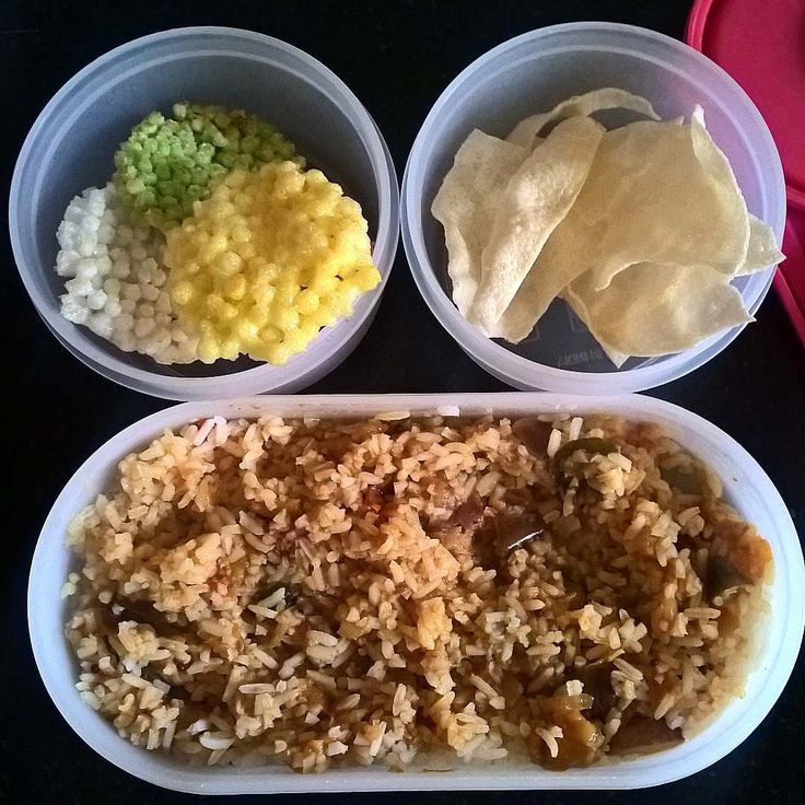In Box - Steamed rice with Tangy Brinjal curry with Pappad and Fryms  Recipe for Tangy Brinjal Curry - https://madraasi.com/2015/07/24/tangy-brinjal-curry-kathirikkai-pulikulambu/   #madraasi #lunchbox #lunchboxrecipes #lunchbag #kidslunchbox #lunchboxideas #mylunch #Indianlunchbox #mylunch #lunchboxrevolution #lunchtime #tamillunchbox #southIndianlunchbox #southIndianlunchboxideas #tamillunchboxideas #vegetarianlunchbox