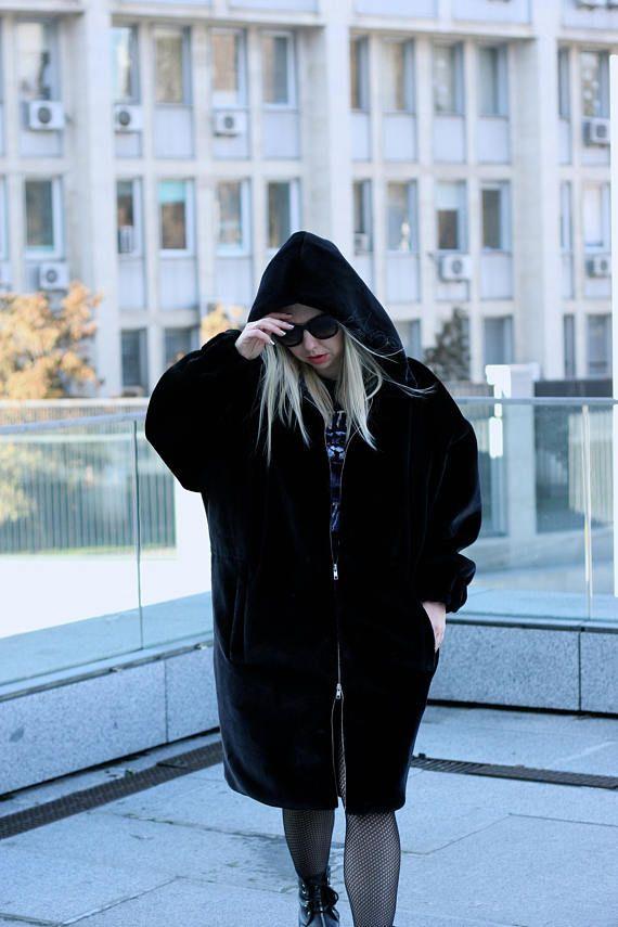 Black faux fur parka  Hooded plush oversize coat  Gigi Hadid fur hoodie   Fenty Puma fur parka  Winter outfit ideas 9b1db0faf