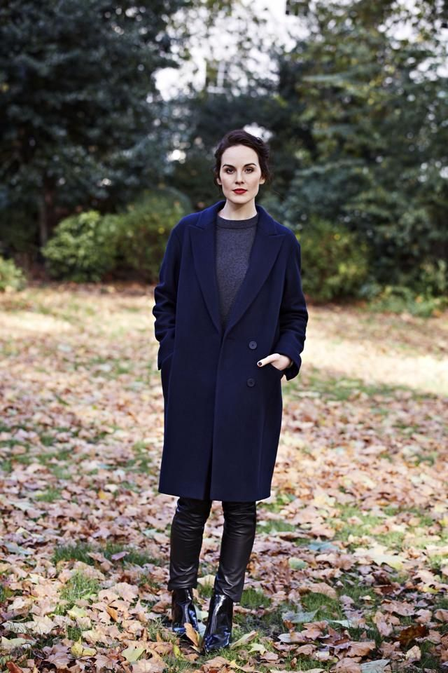 Michelle Dockery in Fall/Winter style. She's not a cool summer, - definitely a winter, - but I do think this outfit would suit a more subtle, less vivid summer, too.