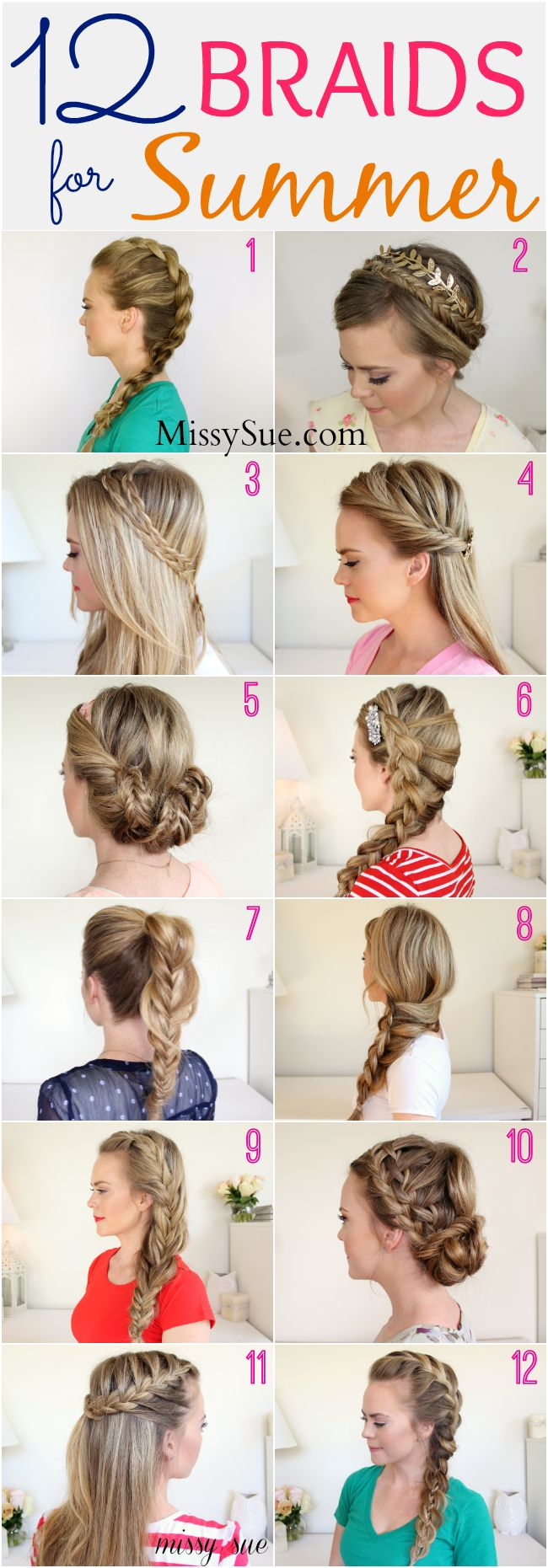 12 Braids for Summer -- beat the heat  and look cute with these braided hairstyles:: Summer Hairstyles