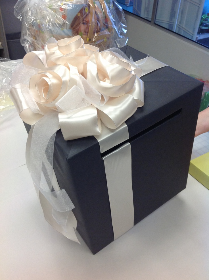 wedding gift card holders%0A Blue and White Gift Card Box with Ribbon Roses  Custom made at Lisa u    s Gift  Wrappers